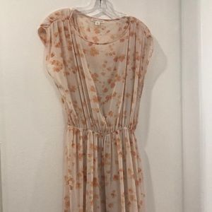 Long peach flowers dress. 57 length/ 46 loose bust